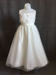Floral mesh dress- IVORY