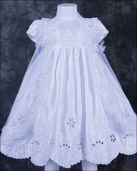 Flower Cut Out Baptism Dress