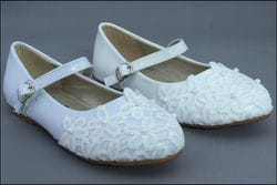 JOLENE- Ivory or White Flats With Flowered Lace
