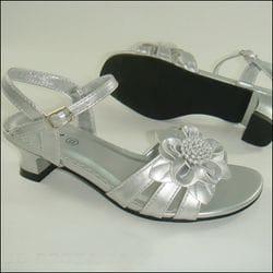 JOLENE- Silver Sandal Heel With Flower