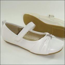 JOLENE- White Flats with Diamond Bead