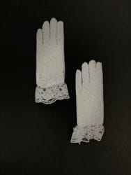 White Lace Gloves with Bow