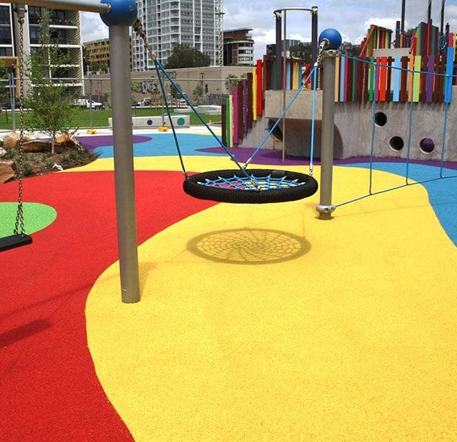 Surface Designs Rosehill TPV® Rubber Wetpour Playground | Wulaba Park by Synthetic Grass & Rubber Surfaces