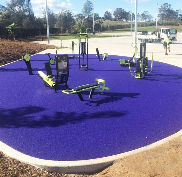Surface Designs Rosehill TPV® Rubber Wetpour Fitness Park | Gregory Hills Park