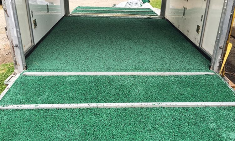 Synthetic Grass and Rubber | Rubber Wetpour Horse float
