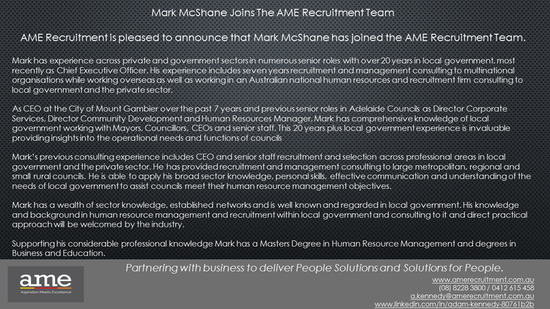 Mark McShane joins AME Recruitment