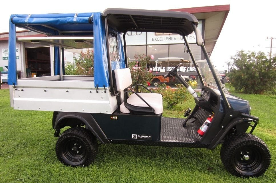 Maintenance Utility vehicle with enclosed rear canopy frame and cover | golf car world | perth | western australia