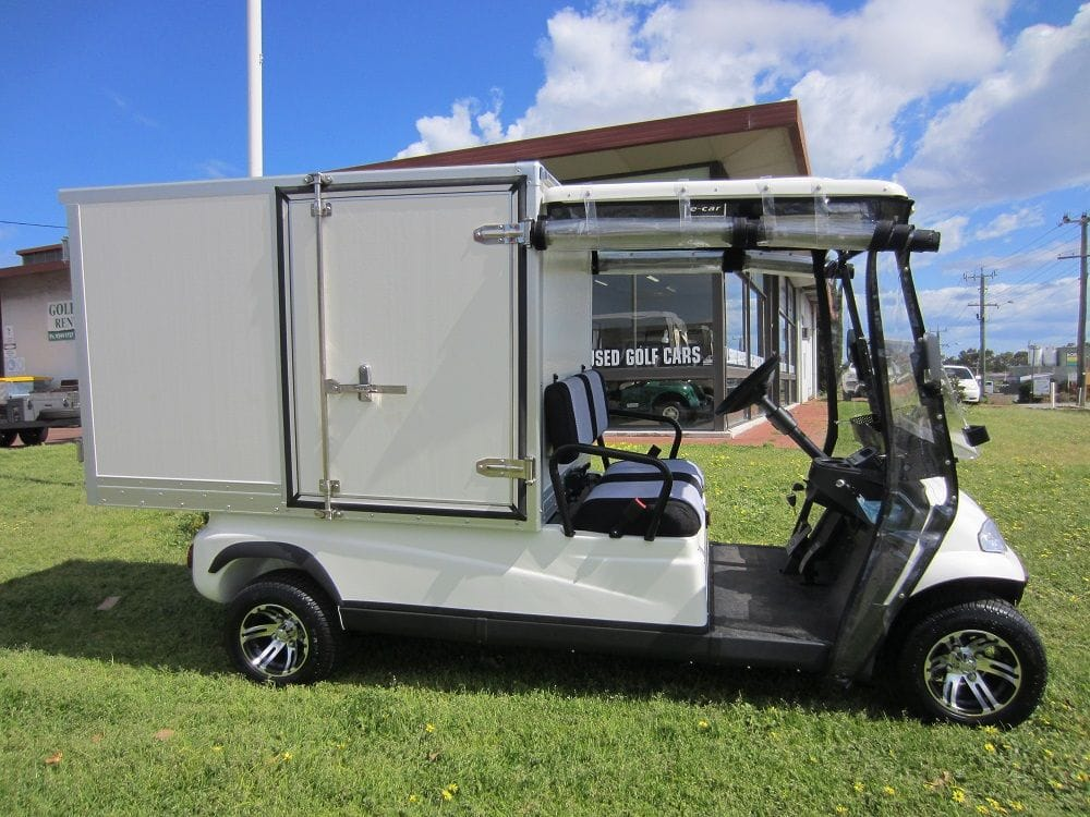 Housekeeping vehicle with lockable storage cabinet | golf car world | perth | western australia