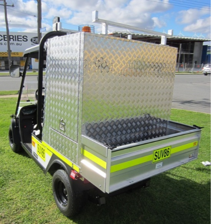 tradesman utility vehicle with enclosed lockable cabinet and ladder rack | golf car world | perth | western australia