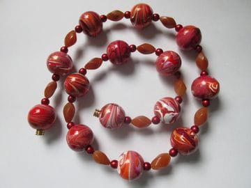Hand-painted wooden beads with jasper twist and fancy glass