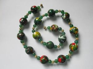 Hand-painted wooden beads with green aventurine