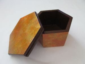 Coppers and Golds—Hexagon Wooden Box