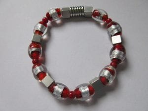 Red coral with fancy red foil glass and magnetic closure