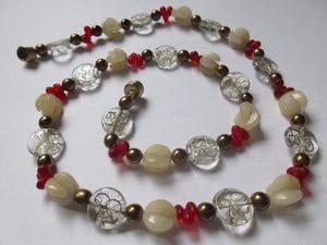Fancy glass swirls, jade, brass glass—magnetic clasp