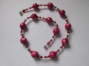 Hand-painted wooden beads with Czech crystals