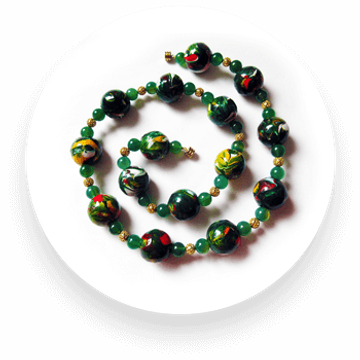 Hand-painted wooden bead necklace with semi-precious aventurine and gold coloured balls