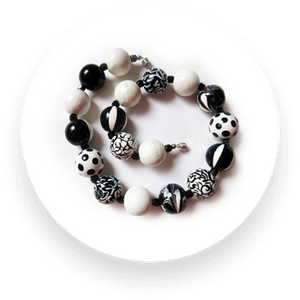 Hand-painted black and white wooden bead necklace with black Czech glass
