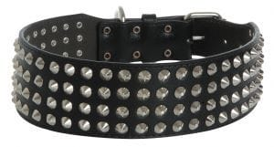 GRIZZLE LEATHER STUDDED COLLAR