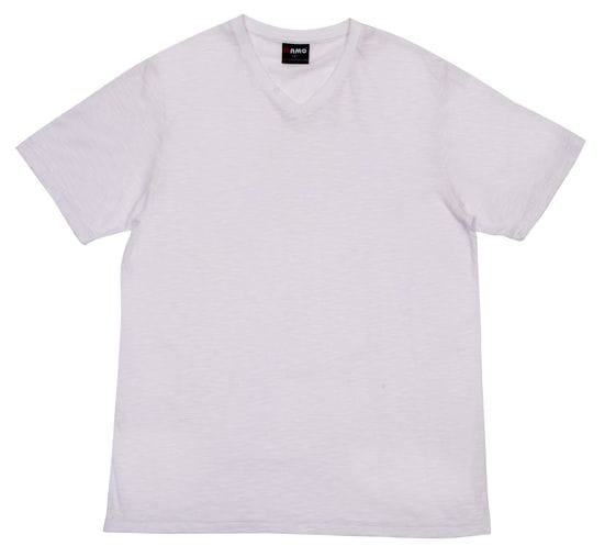 Mens Raw Cotton Wave V-neck Tee