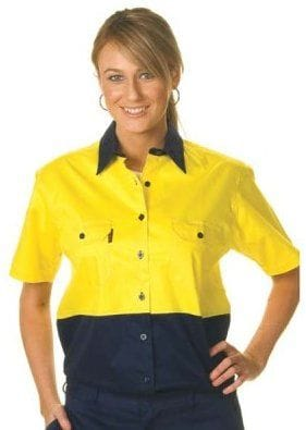 Ladies HiVis Two Tone Cool-Breeze Cotton S/Sleeve Shirt