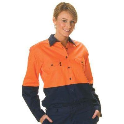 Ladies HiVis Two Tone Cool-Breeze Cotton L/Sleeve Shirt