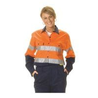 Ladies HiVis Two Tone Cool-Breeze Cotton L/Sleeve Shirt with 3M 8910 R/Tape