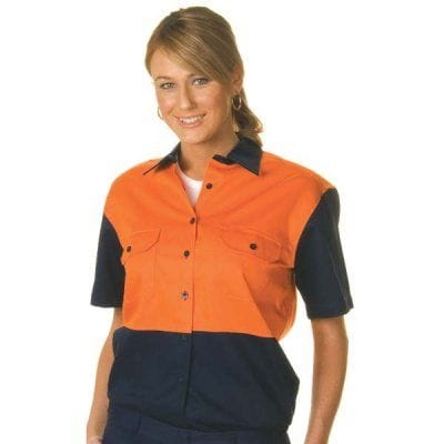 Ladies HiVis Two Tone Cotton Drill S/Sleeve Shirt