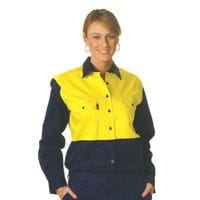 Ladies HiVis Two Tone Cotton Drill L/Sleeve Shirt