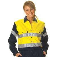 Ladies HiVis Two Tone Drill L/Sleeve Shirt with 3M 8910 R/Tape