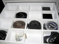 Drawer with tie & belt compartments