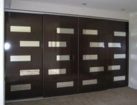 Doors with mirrored strips