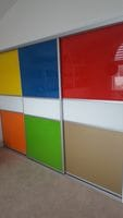 Multi coloured divider glass sliding doors
