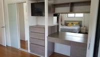Built in robe, external drawers and desk all in one
