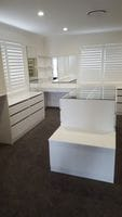 White Melamine Walk in robe, dressing table, island bench with glass top & blanket box