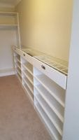 White melamine Walk in robe, glass top display unit with drawer dividers and black velour lining