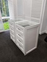 Profile drawer fronts with  2 pack painted island & glass top