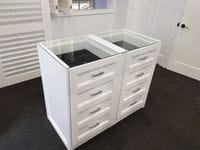 Profile 2 pack painted island with glass top & black jewellery tray inserts