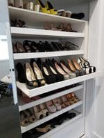 Flat slide out shoe shelving