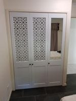 Profile 2 pack painted hinged doors with decorative screen &mirror inserts