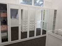 2 pack painted hinged doors with mirror inserts & glass shelving