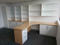 Wrap around study with lockable hinged doors using Polytec