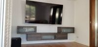 Floating TV unit with glass inserts