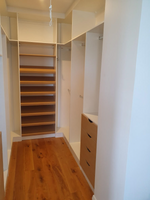 2 Tone Walk in wardrobe with sloping shoe racks, drawers and hanging space