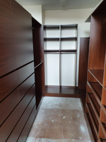 Polytec Jamaican walnut wardrobe, lots of drawers, slide out shoe shelves, trouser rack