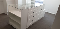 2 pack painted Hamptons style WIR with shaker profile drawer fronts & island