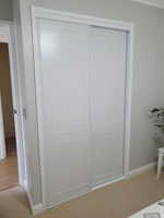 2 pack painted 2 x shaker profile sliding doors with white aluminum frame & tracks
