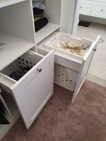 2 x side by side Wilson & Bradley slide out laundry hampers with Blum full extension, soft close drawer runners