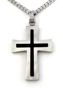 Two Tone Black Cross Pendant
