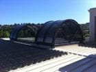 Geelong - An exterior view of the open bi-parting retractable barrel vault