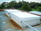 Melbourne Water - An exterior view of the closed single sliding skillion style solid retractable roofs